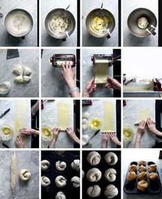 How to make cruffin with pasta machine Cruffins (Croissant + Muffin) Utterly flaky & shatter! Breakfast And Brunch, Brunch Cake, Pasta Recipes, Cooking Recipes, Bread Recipes, Bakery Recipes, Pasta Machine, Dry Yeast, Sweets