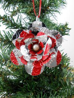Flower Christmas Ornament. Recycled Soda Pop Can Art. Embossed. Diet Coke