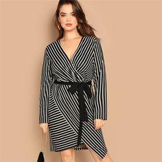 Black White Plus Size Deep V Neck Striped Dress Asymmetrical Hem Women Workwear Going Out Dresses Color Multi Size L Plus Size Womens Clothing, Plus Size Outfits, Plus Size Fashion, Clothes For Women, Simple Clothing, Elegant Dresses Classy, Classy Dress, Belted Dress, Striped Dress