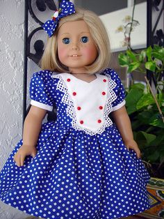 American Girl dress American Girl doll Doll Dress by ADollsFancy American Girl Dress, American Doll Clothes, Sewing Doll Clothes, Girl Doll Clothes, Patriotic Dresses, America Girl, Baby Dress, Girl Outfits, Girls Dresses