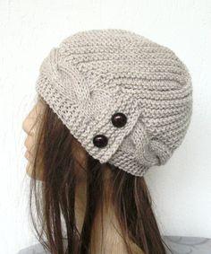 216b3d5be86 Hand Knit Hat- winter hat - Womens hat Cloche hat in Oatmeal Beige Winter  Accessories