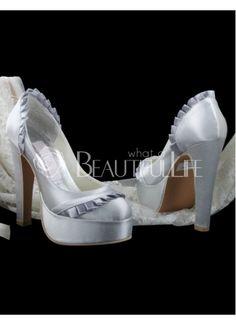 Luxurious Silver Satin Pleated High Heel Platform Wedding Shoes