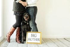 Pregnancy announcement to friends and family using the family dog (( whenever we do have a baby this is a great idea Maternity Poses, Maternity Pictures, Maternity Photography, Baby Pictures, Baby Photos, Photography Ideas, Newborn Pictures, Family Photos, Unique Pregnancy Announcement