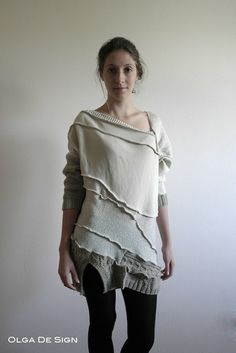 Olga De Sign / amazing Dress from old wool sweat shirts /