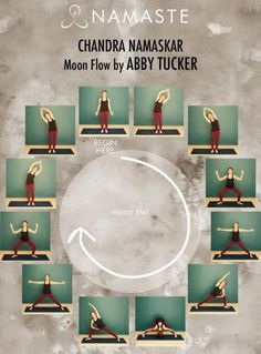 """You're probably very familiar with """"Surya Namaskar"""", or """"Sun Salute"""", but do you know the moon flow? If not, you'll definitely want to check out the """"Chandra Namaskar"""" or """"Moon Flow"""" sequence below, a beautiful way to bring a sense of grounding and rest t Yin Yoga, Yoga Meditation, Yoga Bewegungen, Namaste Yoga, Yoga Moves, Yoga Exercises, Vinyasa Yoga, Cardio Yoga, Flexibility Exercises"""