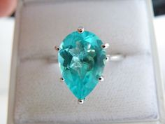 New Sterling Silver 925 7ct Apatite Aqua Color CZ Bold Solitaire Ring Size 10 #Designer #Cocktail