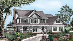 Country Style House Plans - 2198 Square Foot Home, 2 Story, 4 Bedroom and 2 3 Bath, 2 Garage Stalls by Monster House Plans - Plan 13-125