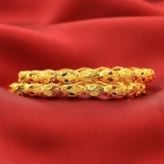 Striking designs with an edgy appeal, #ShreeHari's intricately Designed Gold Plated #Bangles! https://www.shreehari.co/gold-plated/bangles.html