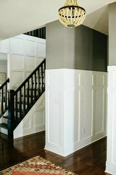 adding character with trim and planking throughout a builder grade home