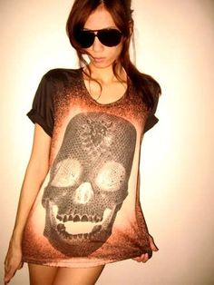 Diamond Skull Goth Punk Pop Art Rock Glam T Shirt M   $13