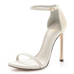 Stuart Weitzman Nudist Single Band Sandals - Chalk ($398) ❤ liked on Polyvore featuring shoes, sandals, heels, high heels, zapatos, ankle wrap sandals, leather heeled sandals, leather high heel sandals, leather sandals and heeled sandals