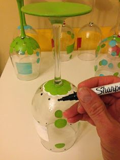 Not Your Ordinary Psychic Mom: How to Paint Wine Glasses - Painting Techniques (Part Two) #SCBH2015