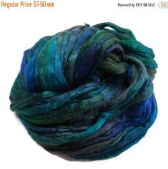 SALE Mulberry Silk roving, hand dyed (Peacock)