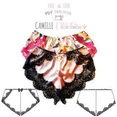Patron de couture Lingerie Camille Français slips/culottes - Woman Under Wear Lingerie Patterns, Sewing Lingerie, Clothing Patterns, Sewing Patterns, Lingerie Couture, Diy Couture, Diy Clothing, Sewing Clothes, Sewing Tutorials