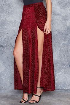 Burned Velvet Wine Split Skirt
