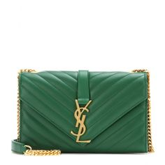 Saint Laurent - Classic Monogram leather shoulder bag - Give your looks a luxe finishing touch courtesy of Saint Laurent. Featuring the brand's classic 'YSL' logo to the front, this small quilted shoulder bag in green is a true investment piece. We love the soft, rich leather next to the gold-tone hardware accents. seen @ www.mytheresa.com