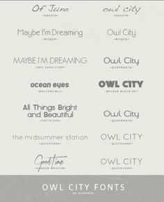 Owl city fonts