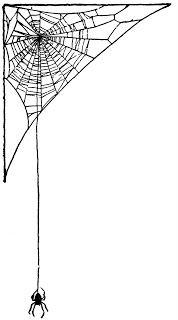 Vintage Ephemera: Halloween.  Children's book illustration, spider and web, 1919