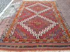 VINTAGE Turkish Kilim Rug embroidered kilim by KilimRugStore