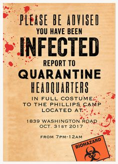 Halloween Party Invitations - Select printing options and begin customizing your card for design 23837 Zombie Halloween Party, Zombie Birthday Parties, Haloween Party, Fairy Halloween Costumes, Halloween Party Decor, Halloween Treats, Zombie Halloween Decorations, Halloween Designs, Halloween 2019
