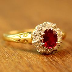 Rita Ruby and Diamond Vintage Engagement Ring by TurtleLoveCo, $1,150.00