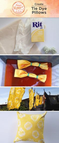 Fun tie-dye pillows will spruce up any room and are simple to make! Experiment folding and tying your fabric to get different dye patterns. Follow the Rit® instructions for mixing your dye. Don't forget to wear protective gloves! After you've let your dye set, rinse your fabric well and line dry. Sew the edges and stuff with a pillow insert and you're all done!