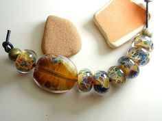 Lampwork Borosilicate Beads MEADOW Two by TwoSistersDesignss, $18.00