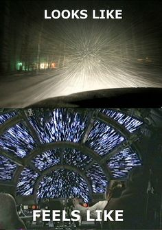Driving in a snow storm.