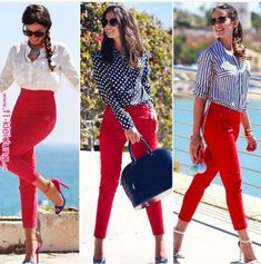 Nice looks with red pants Awesome Casual Winter Outfits Trends Ideas Summer Work Outfits, Casual Summer Outfits, Classy Outfits, Chic Outfits, Fashion Outfits, Summer Clothes, Fashion Clothes, Womens Fashion, Dress Outfits