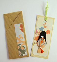 Bookmark - Little Japanese Doll - Green cotton threads