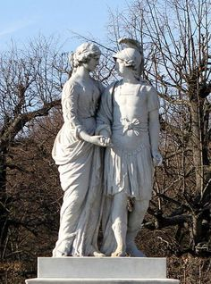 ''ALEXANDER THE GREAT AND HIS MOTHER OLYMPIAS'' - statue in Vienna