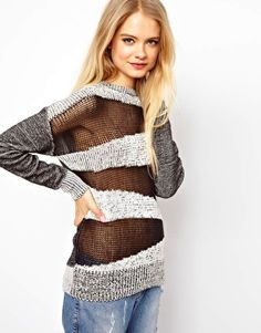 ASOS Sheer Block Chunky Jumper