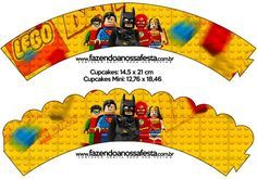 Saias Wrappers para Cupcakes Batman Lego Super Heroes:
