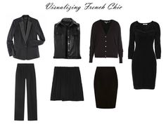 Visualizing French Chic: 7 in black The Vivienne Files:5-19-12 swap vest for sweater or denim jacket, pants for a skirt.
