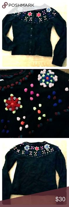 KENZO FOLK BLACK CARDIGAN Kenzo black cardigan with crochet folk inspired flowers. Cute little balls of neon pink, purple, red, teal and neon yellow. It's a re-Posh as M size is too small for me postpartum. Otherwise I wouldn't part with it. Looking for a new stylish closet! Kenzo Sweaters Cardigans