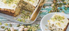 Zucchini pistachio cake is a dessert with a twist, kept fluffy and moist with grated zucchini and delicately flavoured by pistachio nuts. Baking Recipes, Cake Recipes, Dessert Recipes, Pistachio Cake, Cake Servings, Healthy Sweets, Holiday Baking, Delicious Desserts, Zucchini