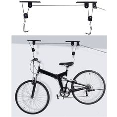 Hot Sale Bike Bicycle Lift Ceiling Mounted Hoist Storage Garage Hanger Pulley Rack Metal Black Lift Assemblies