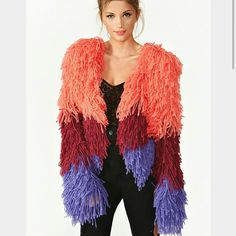 Nasty gal ombre shag jacket Multi color jacket... Show stopper Nasty Gal Sweaters