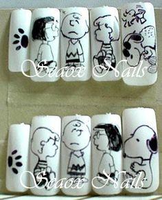 Snoopy Nails, Designed Nails, Peppermint Patties, Brown Nails, Fall Nail Designs, Peanuts Gang, Mani Pedi, Charlie Brown, Pretty Nails