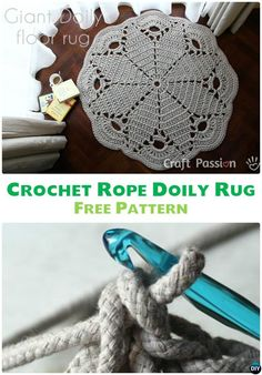 10 DIY Crochet Area Rug Ideas with Free Patterns: for dinning room, living room, bedroom or even as kitchen mat, a great addition to interior decor, Crochet Doily Rug, Crochet Rope, Diy Crochet, Crochet Ideas, Crochet Designs, Crochet Patterns, Doily Patterns, Sunburst Granny Square, Finger Crochet