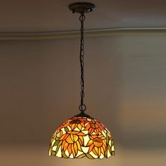 Tiffany Pendant Lamp with Sunflower Design