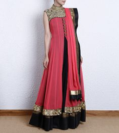 Coral & Black Chiffon Anarkali Dress