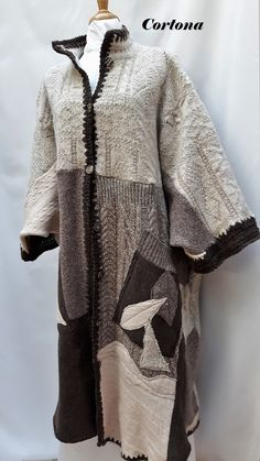 Cortona...is a knit patchwork coat /cardigan in monochromatic earthy tones di MsEmmaDesigns su Etsy