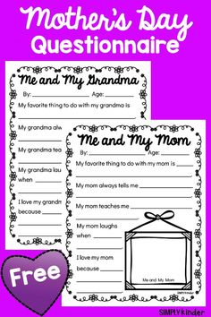 Me and My Mom and Me and My Grandma Questionnaires, Mother's Day Printables, Mother's Day Questionnaires