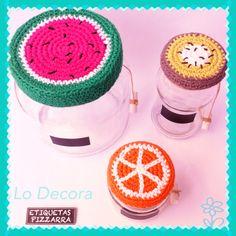 Frascos decorados crochet @LoDecora