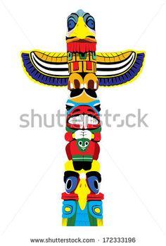 clipart vectoriel vector totem pole les totems du monde rh pinterest com  tiki totem pole clipart