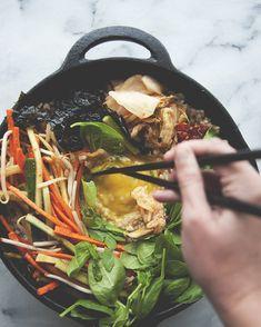 Bi Bim Bap by thekitchykitchen: Mixed brown rice bowl with spicy miso dressing. #Bi_Bim_Bap #Brown_Roce Healthy