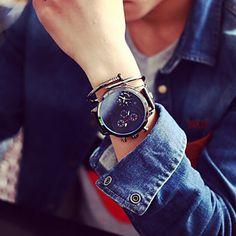 Men JIS watch Quartz Waterproof Sports Watch Calendar Genuine Leather Wristwatch montre reloj relogio(Assorted Color) Cool Watches Unique Watches 4820831 2017 – $23.99