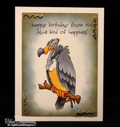 Art Impressions Rubber Stamps: Zoo Crew: Buzzard Set (Sku#4194) ... handmade birthday card.