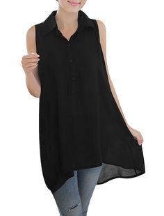 Woman Point Collar 1/2 Button Front Sleeveless Lace Splice Back Tunic Top